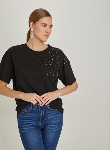 NGSTYLE Boncuk İşlemeli Tshirt Siyah